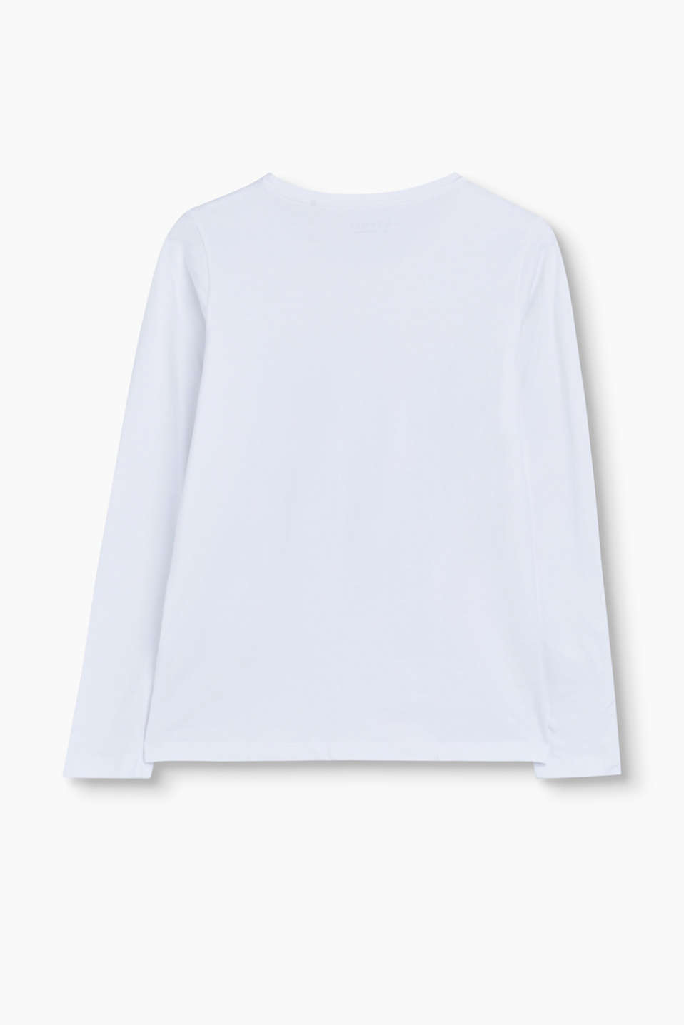 Logo long sleeve top in stretch cotton