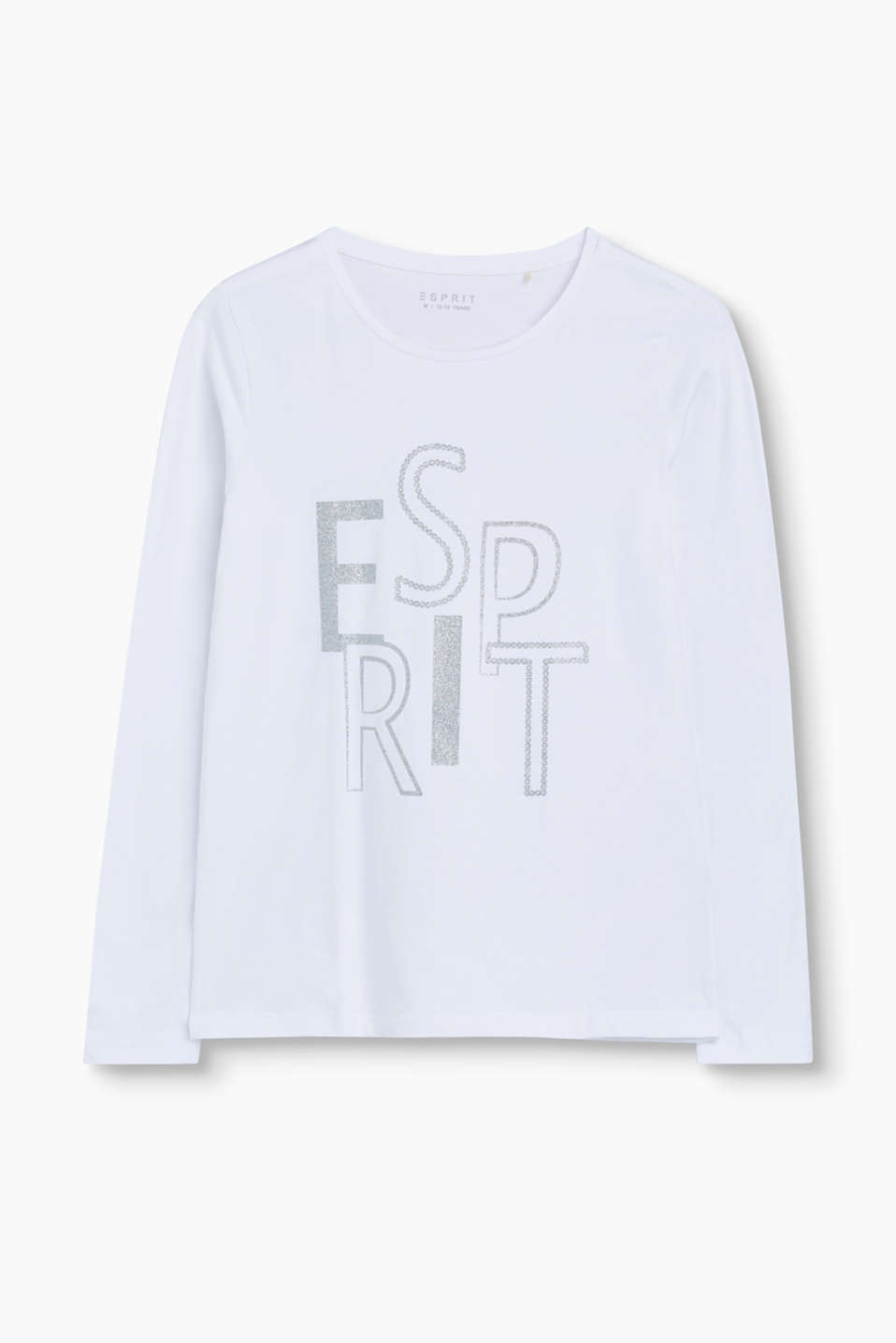 Esprit - Logo long sleeve top in stretch cotton