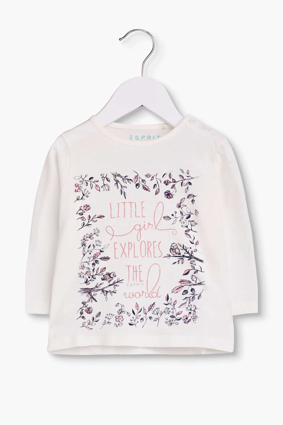 For girl´s only: soft cotton long sleeve top with a slogan print decorated with flowers.
