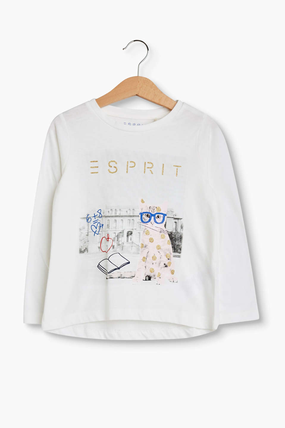 Esprit - Printed long sleeve top in 100% cotton