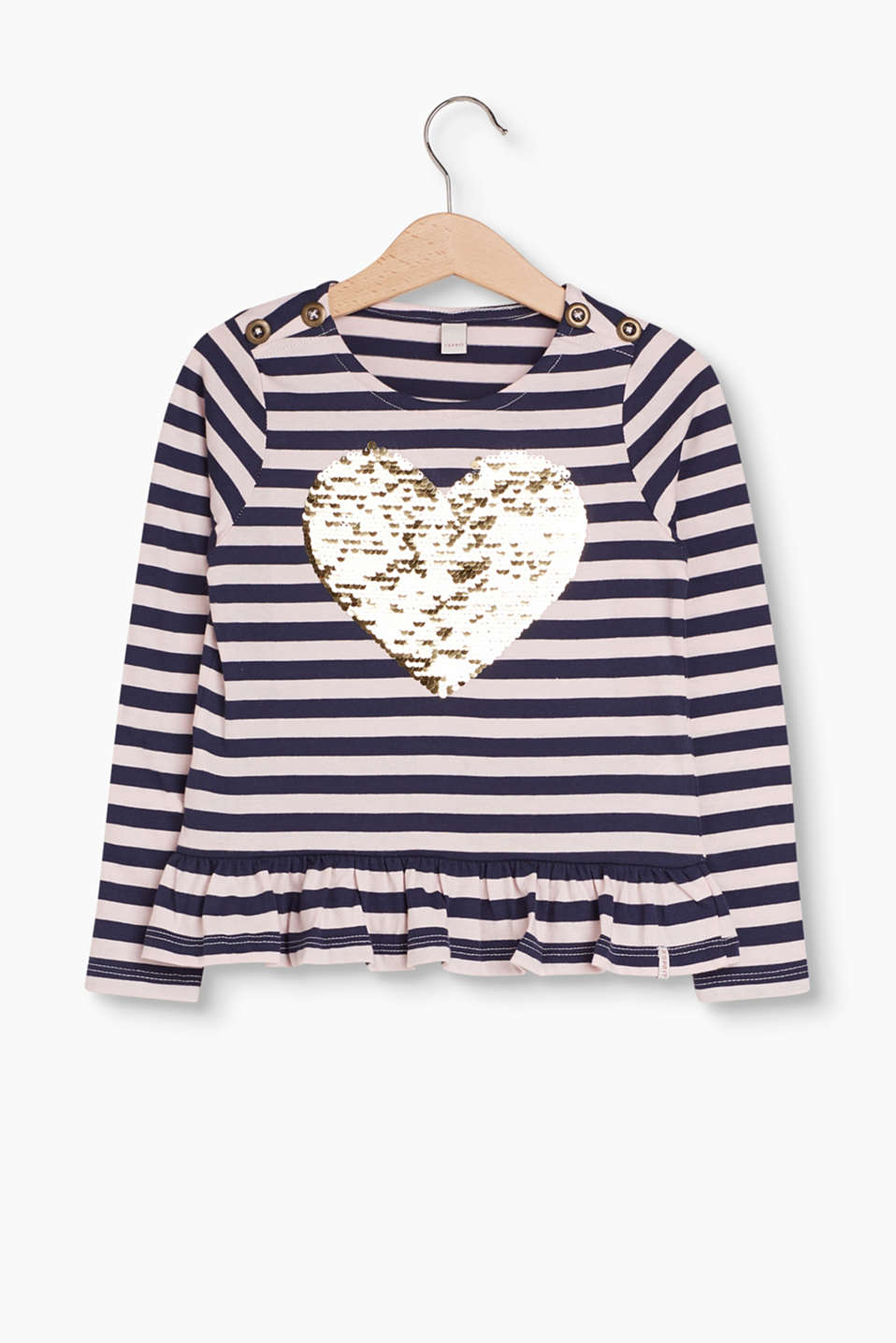 On-trend and adorable: striped long sleeve top with a sequin motif and hem frill