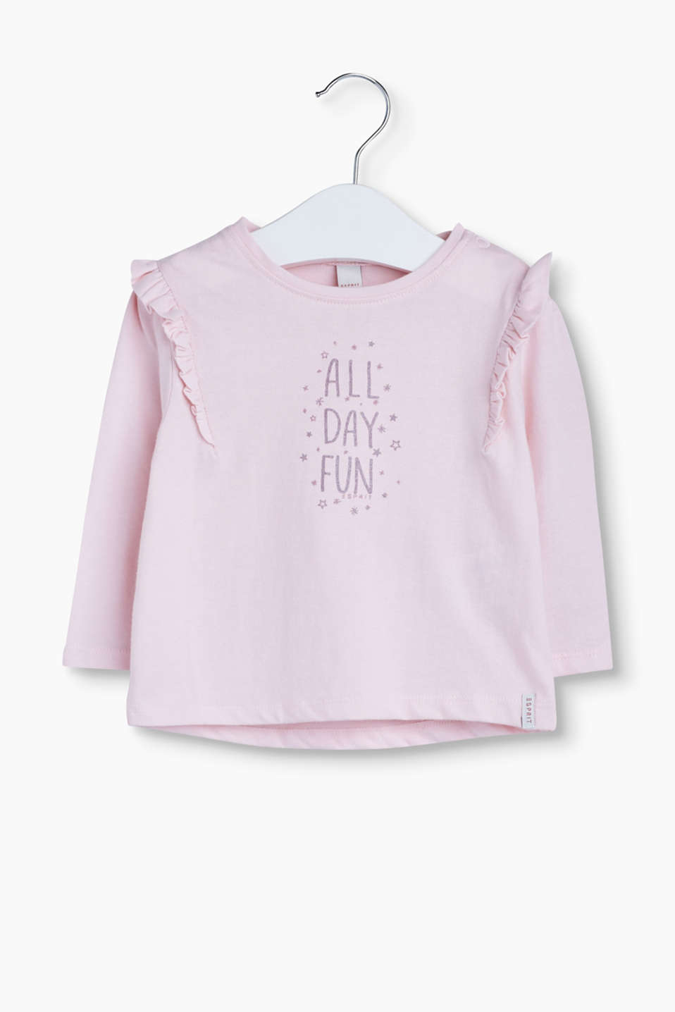 ALL DAY FUN - soft long sleeve top with a cheery statement print and pretty frills.