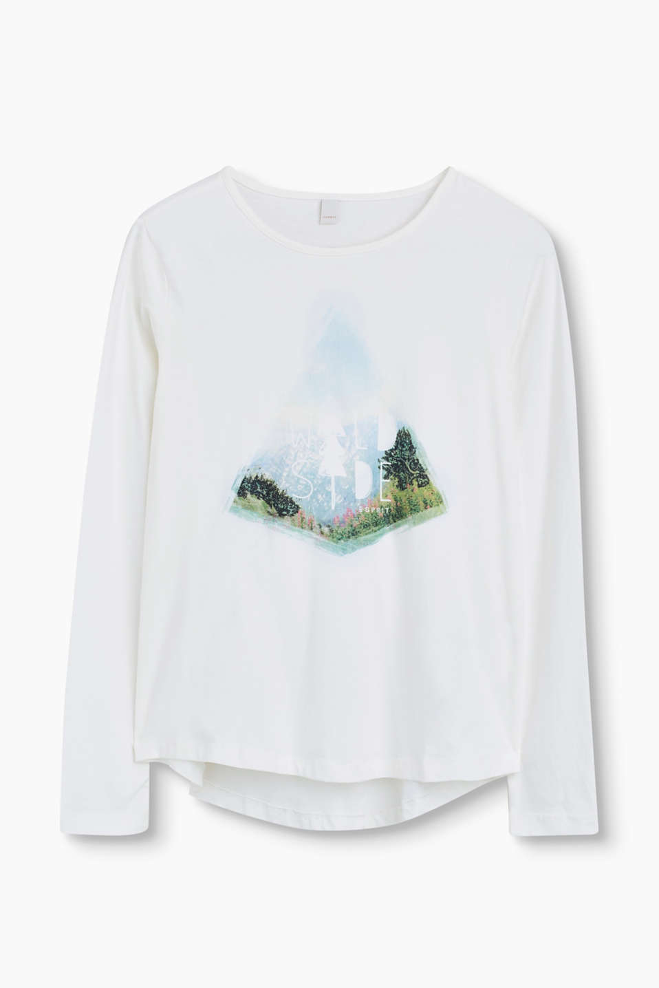 Esprit - Long sleeve cotton top with a photo print
