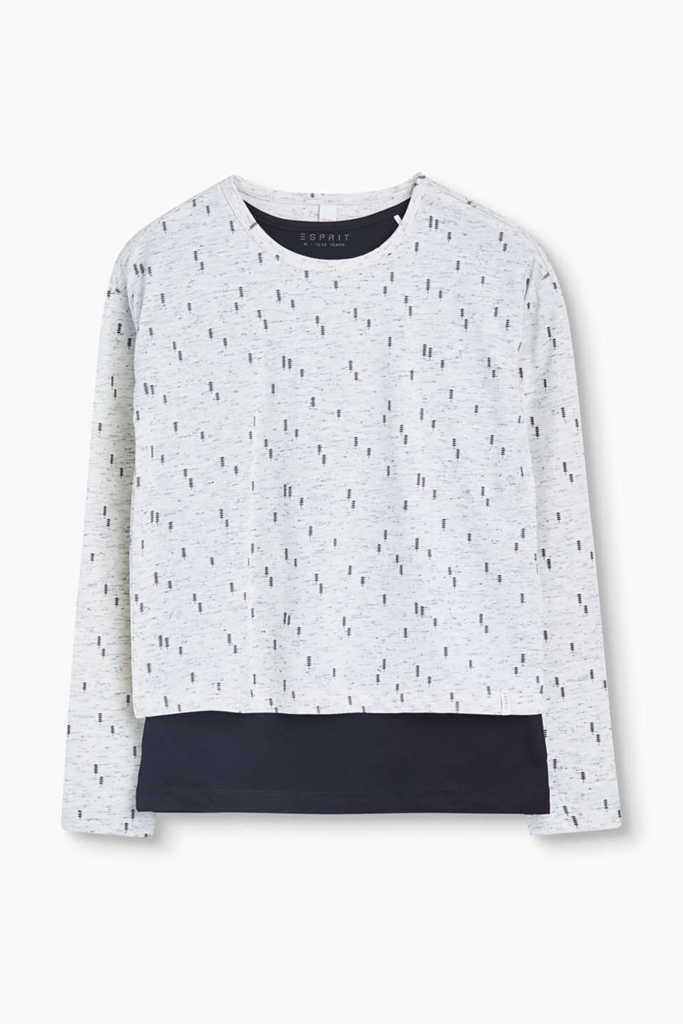 In a trendy layered look: Long sleeve top in printed slub jersey with a plain coloured cotton T-shirt.
