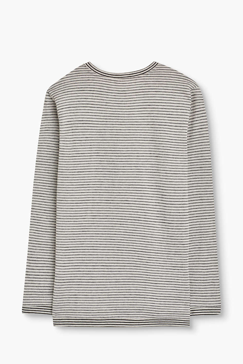 Striped long sleeve top + breast pocket