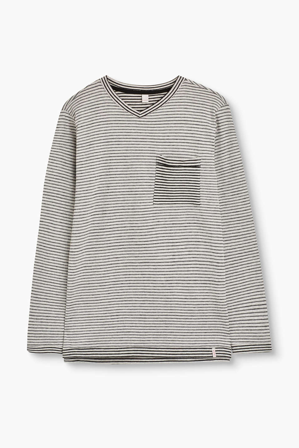 Esprit - Striped long sleeve top + breast pocket
