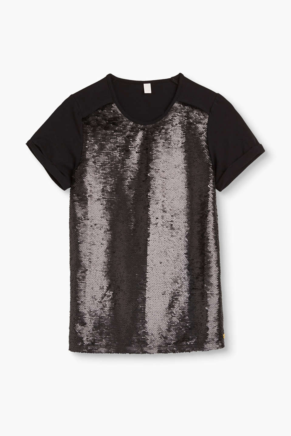 Esprit - Sequined T-shirt in stretch cotton