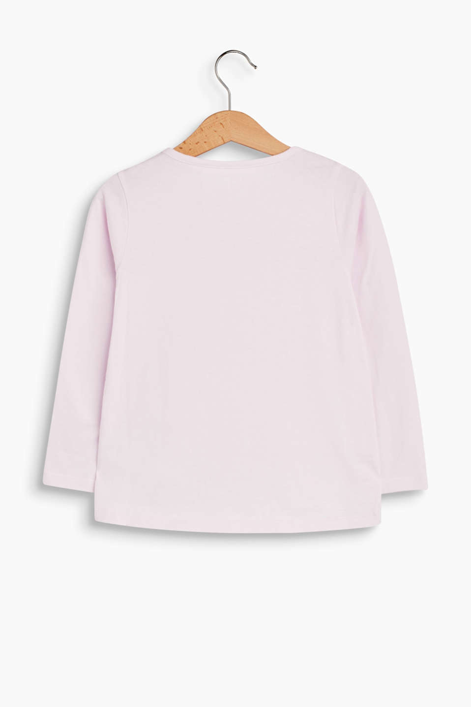 Frilled long sleeve top, 100% cotton