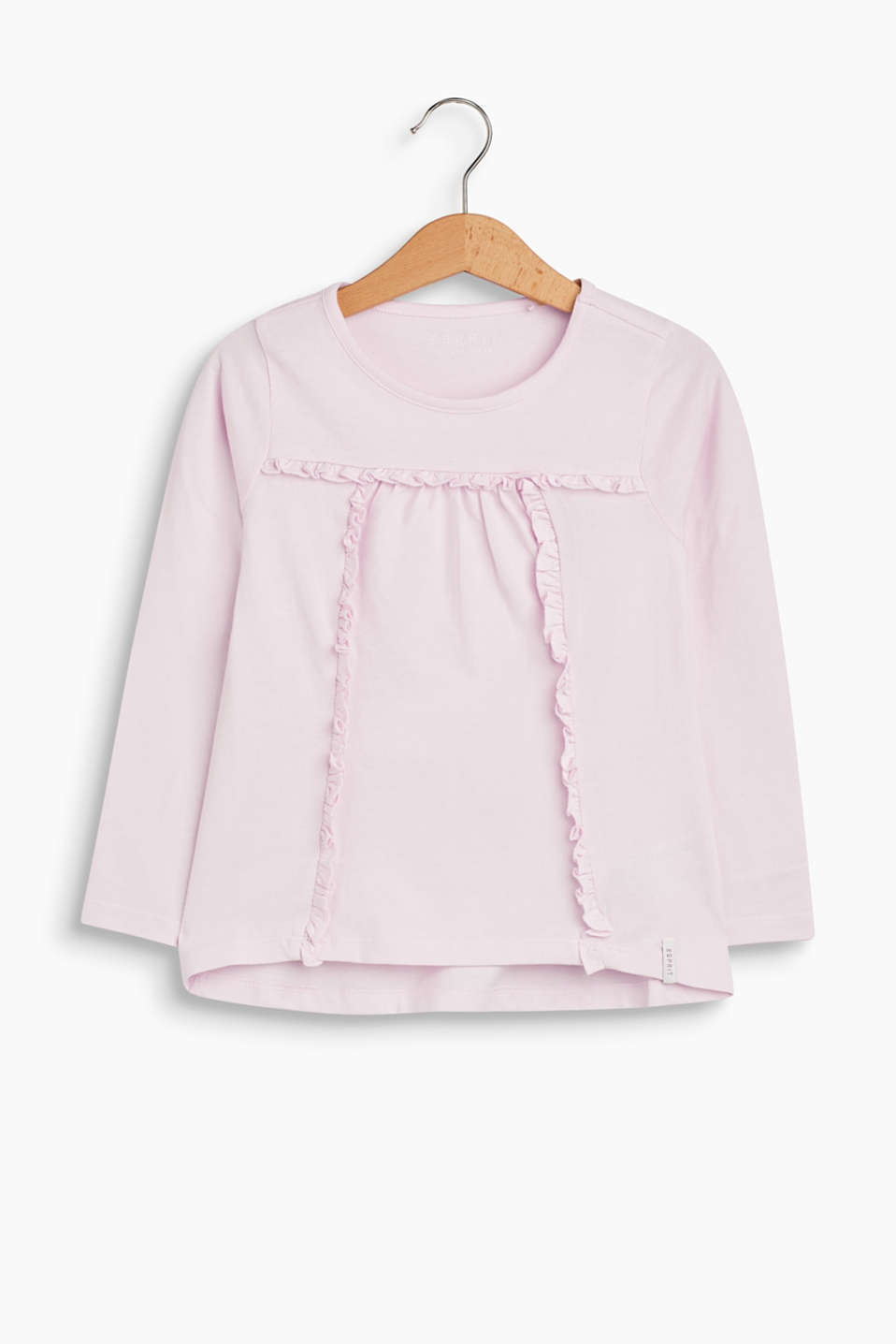 This long sleeve top gets a girly touch from the frilled borders on the front.