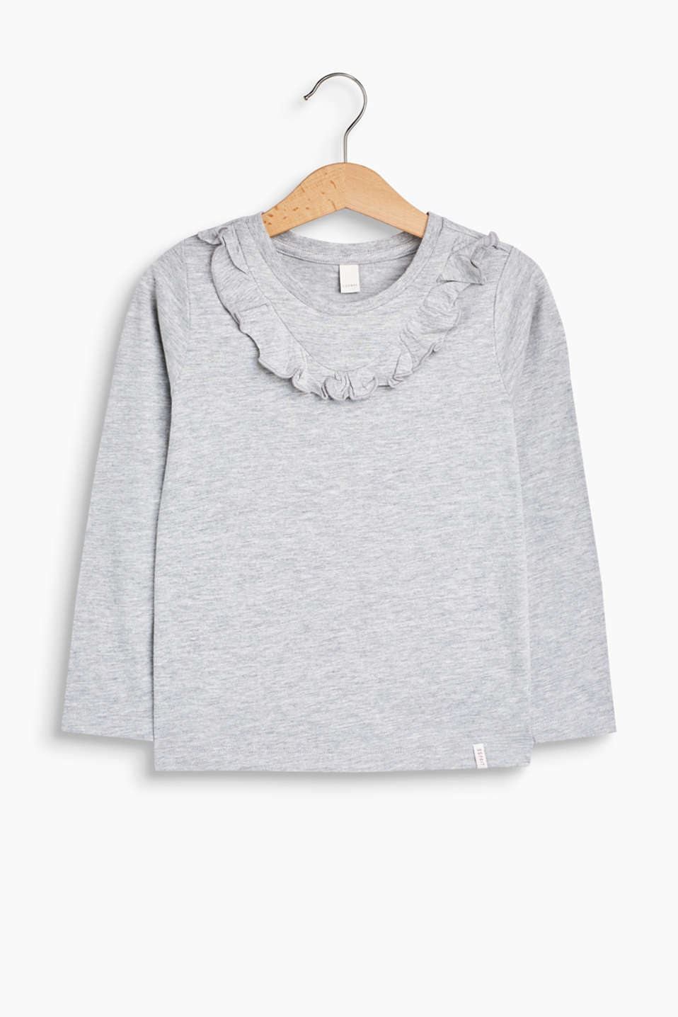Esprit - Melange long sleeve top with a flounce