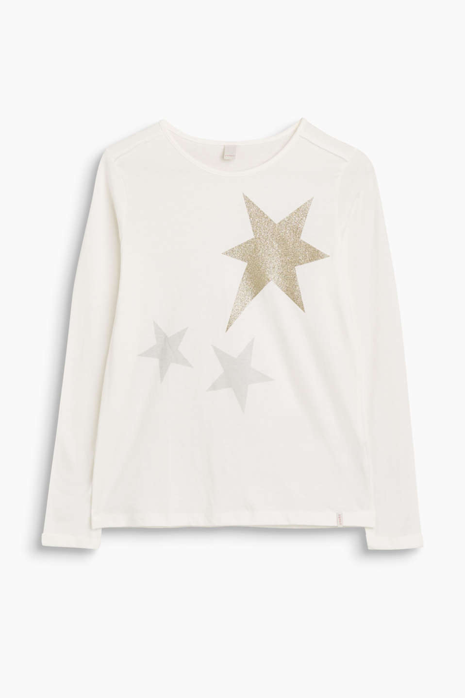 Grab a star from heaven: this A-line long sleeve top with matte and glittery print on the front!