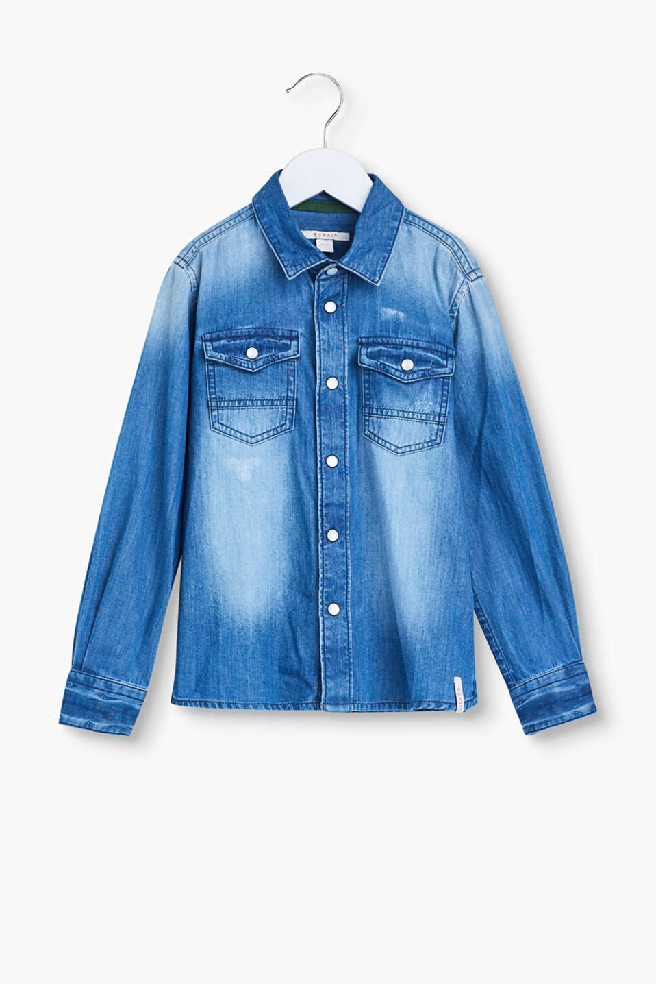 Cool denim highlight! Little ones look all grown up in this lightly faded denim shirt.