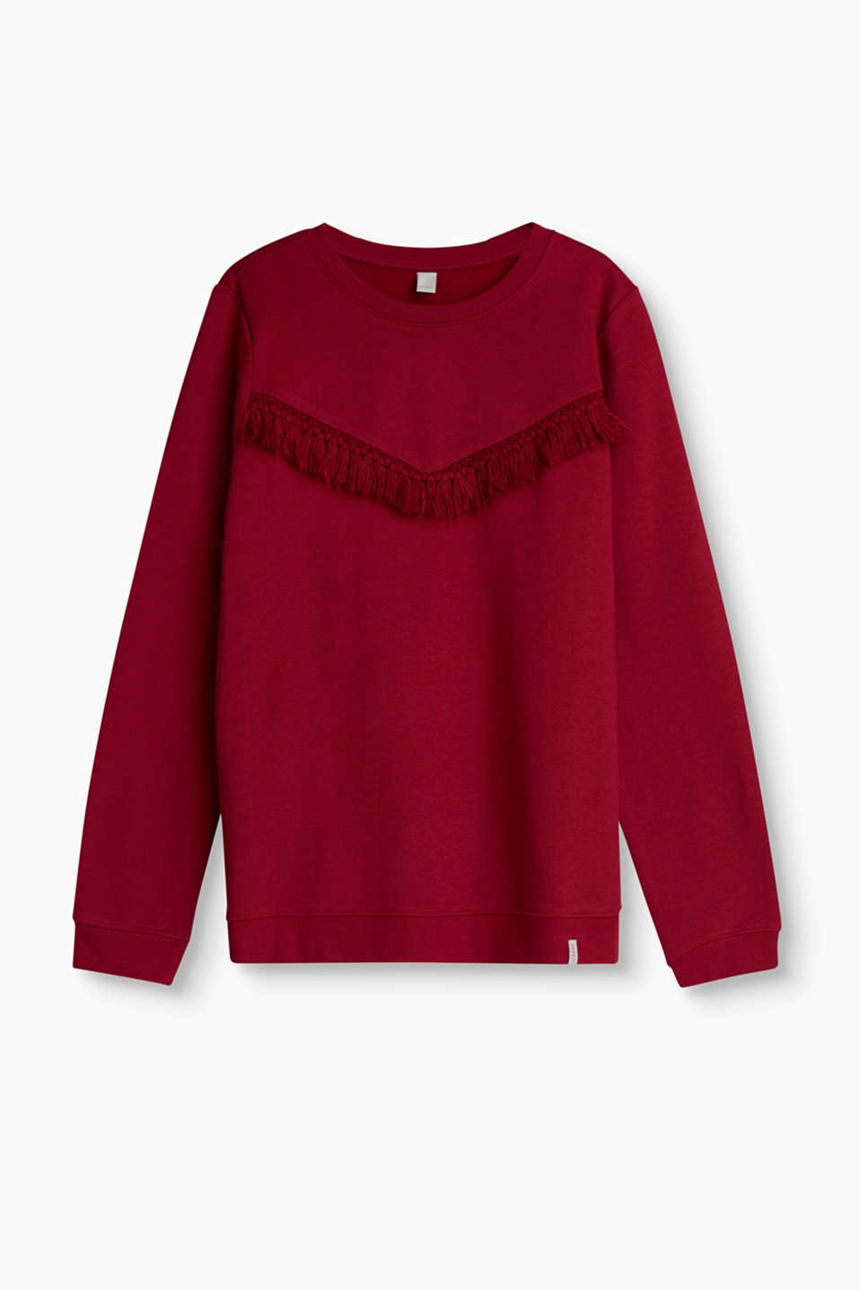 Soft sweatshirt with decorative fringing and a fluffy reverse side