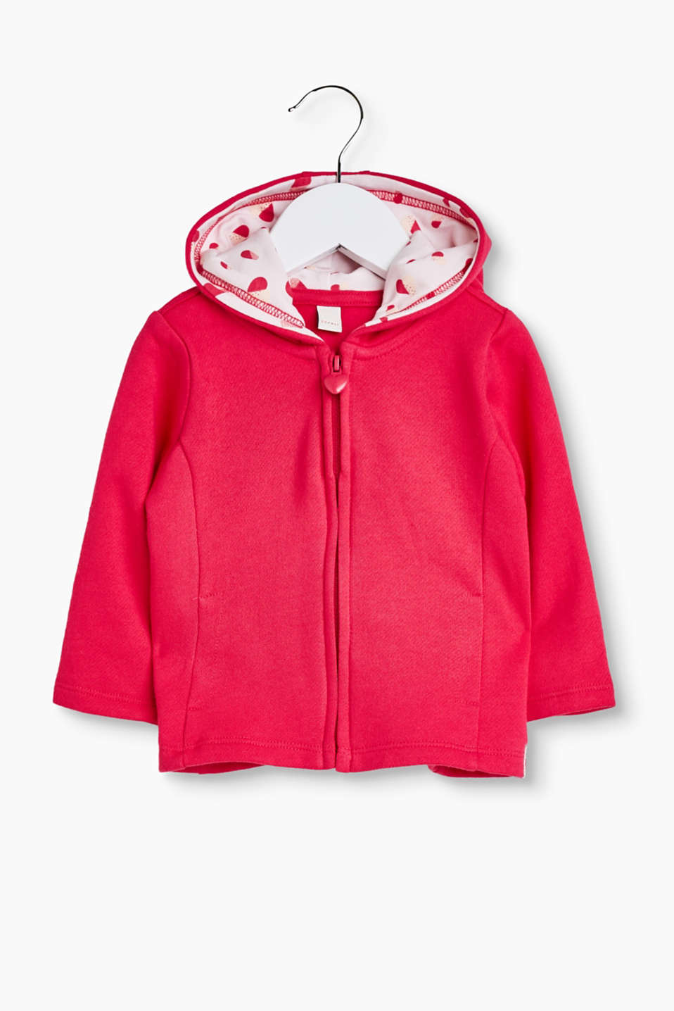 with a heart-shaped zip pull and glittery, printed lining in the hood