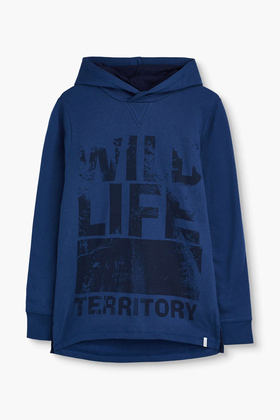 Casual, cool and super comfortable: elongated hooded sweatshirt with a large wildlife print.