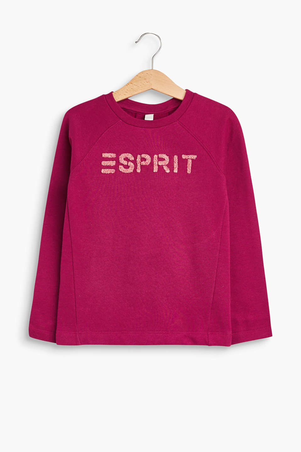 A fluffy towelling logo and pleated back give this sweatshirt its adorable look.