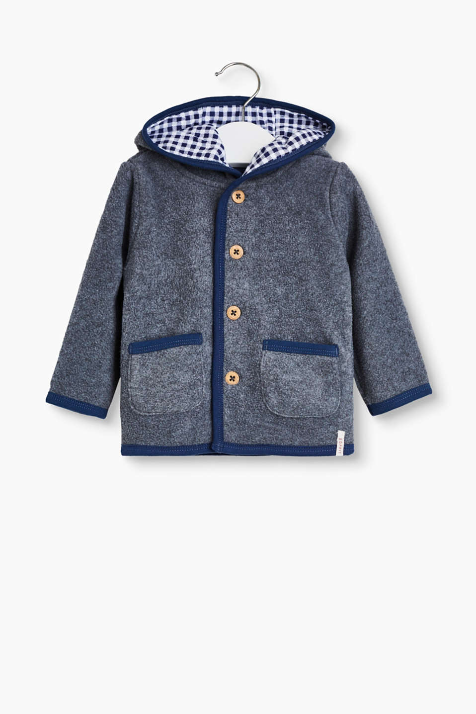 Off to Oktoberfest! In this cute sweatshirt cardigan with four distinctive buttons and a hat with a check lining