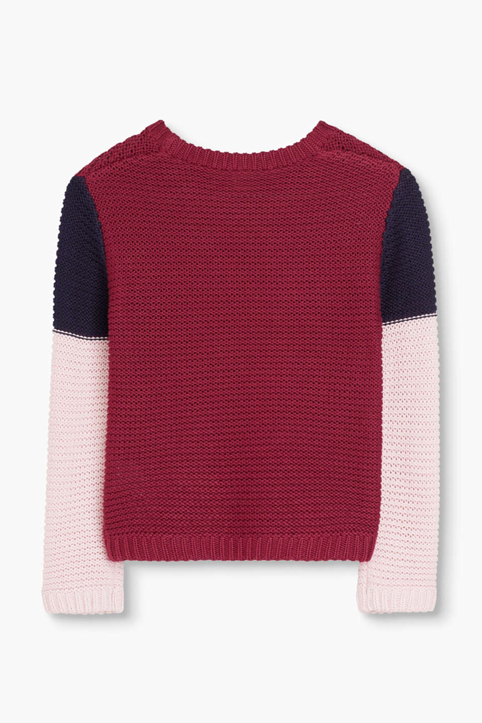 Knit jumper with colour block stripes