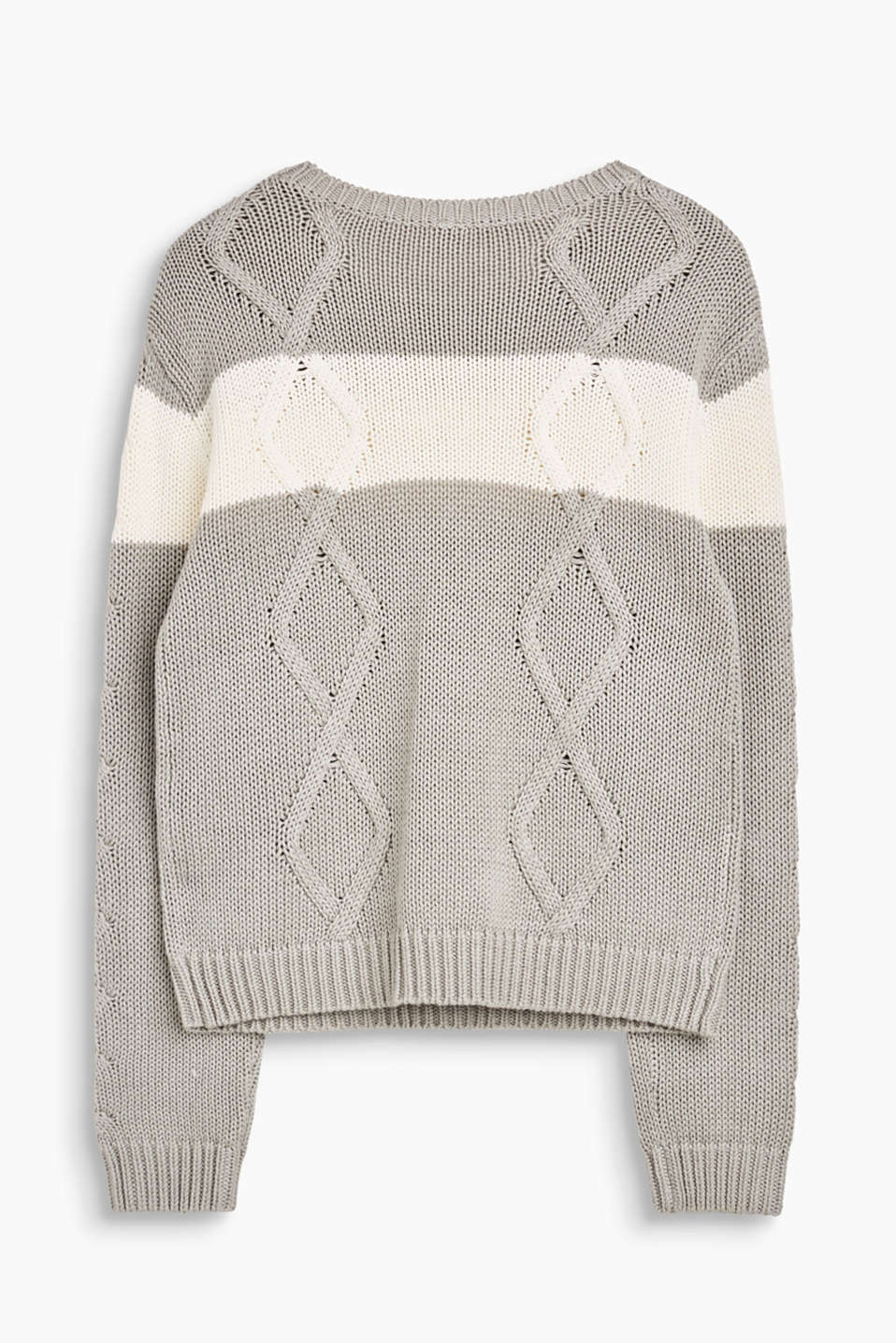 Colour block soft cable knit jumper