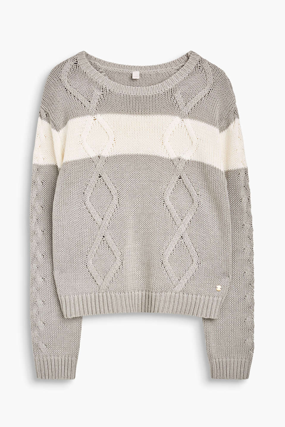 Esprit - Colour block soft cable knit jumper