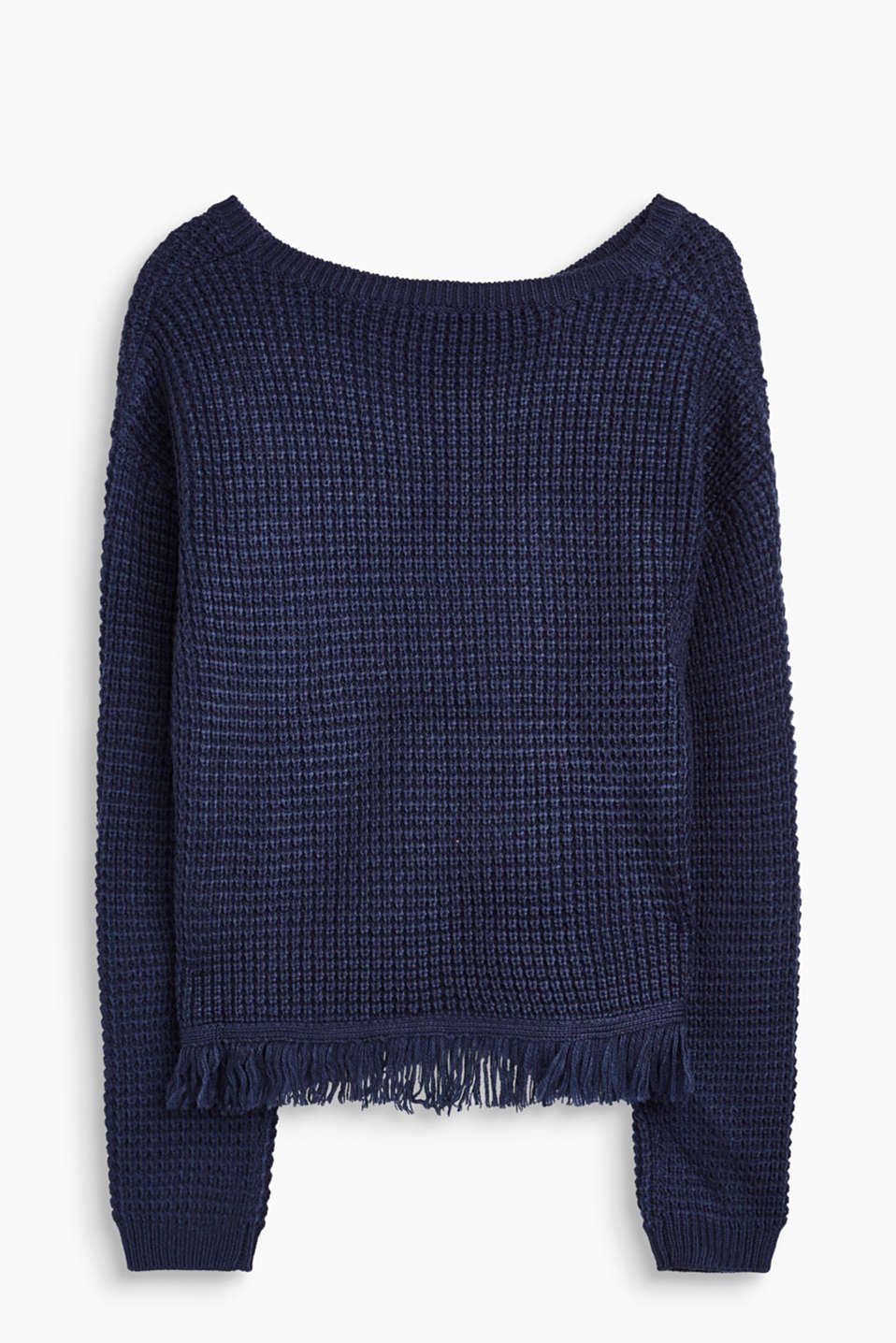Textured jumper with fringing