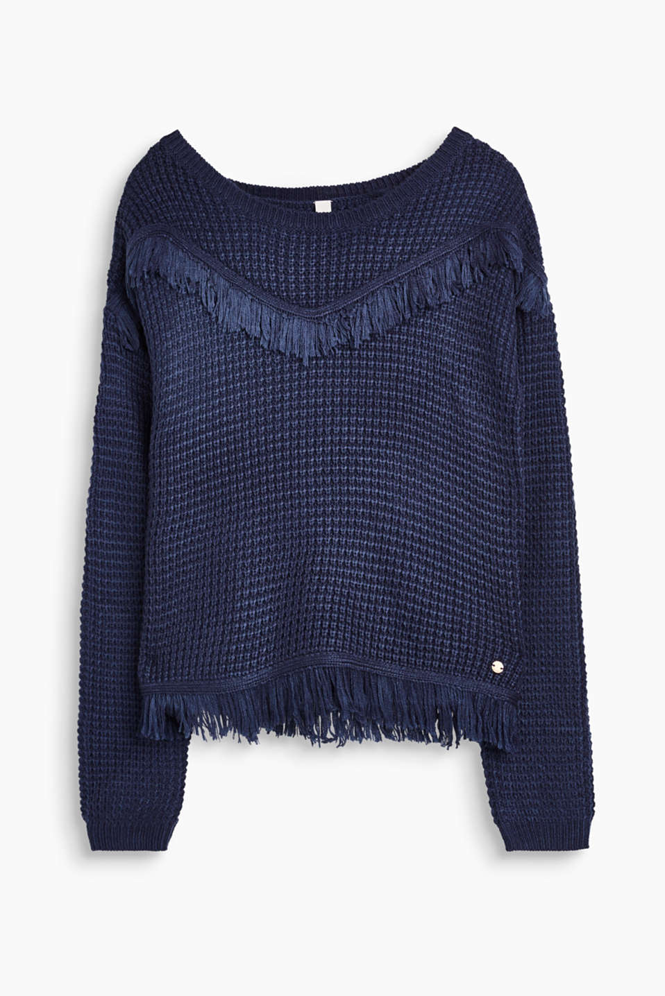 Jumper in a soft waffle knit with fringed borders to rule out cold weather and boring outfits!