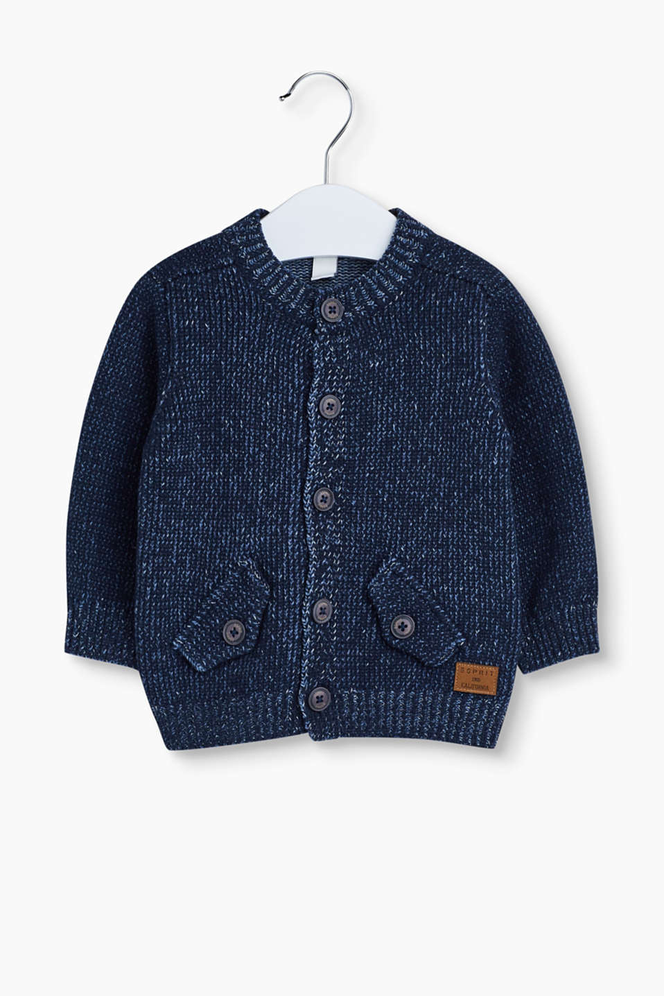 Snug knitwear sensation! The soft cotton yarn makes this melange cardigan with patch pockets something special.