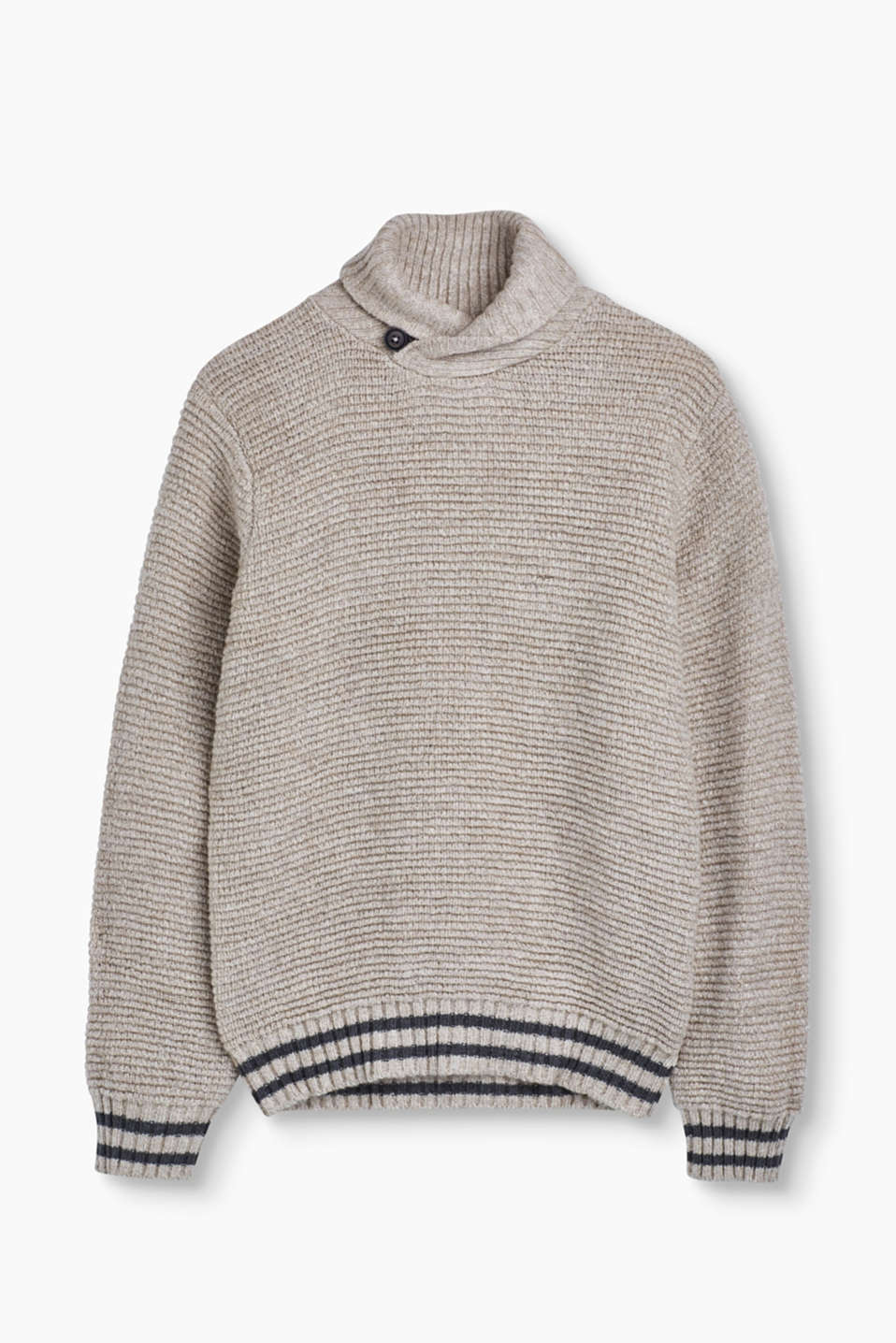 A favourite piece for cold days: Textured jumper with a beautiful shawl collar in insulating wool.