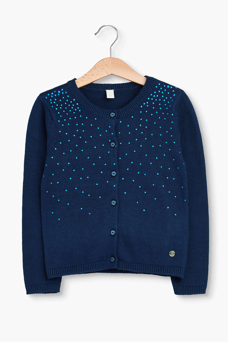 Esprit - Cardigan with a shiny print, 100% cotton