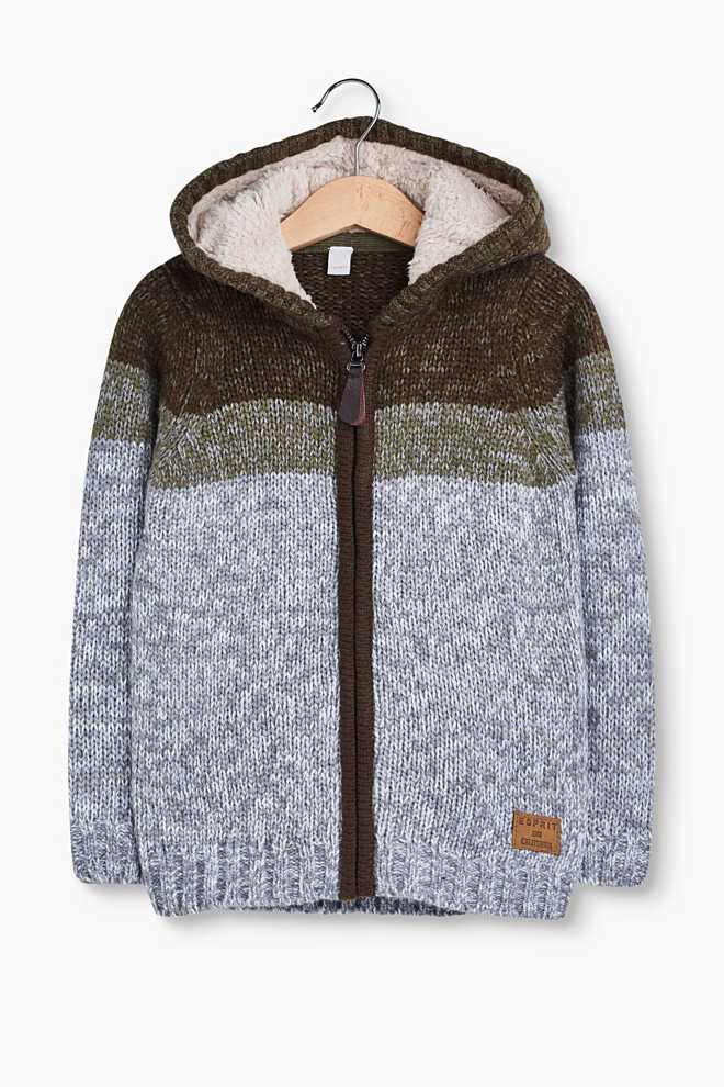 Kapuzen-Cardigan mit wärmender Wolle
