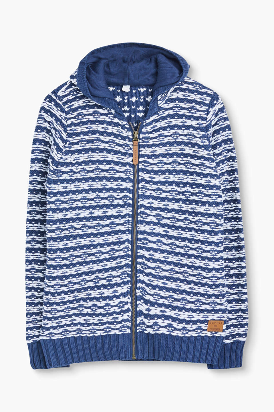 Esprit - Hooded cardigan in blended cotton
