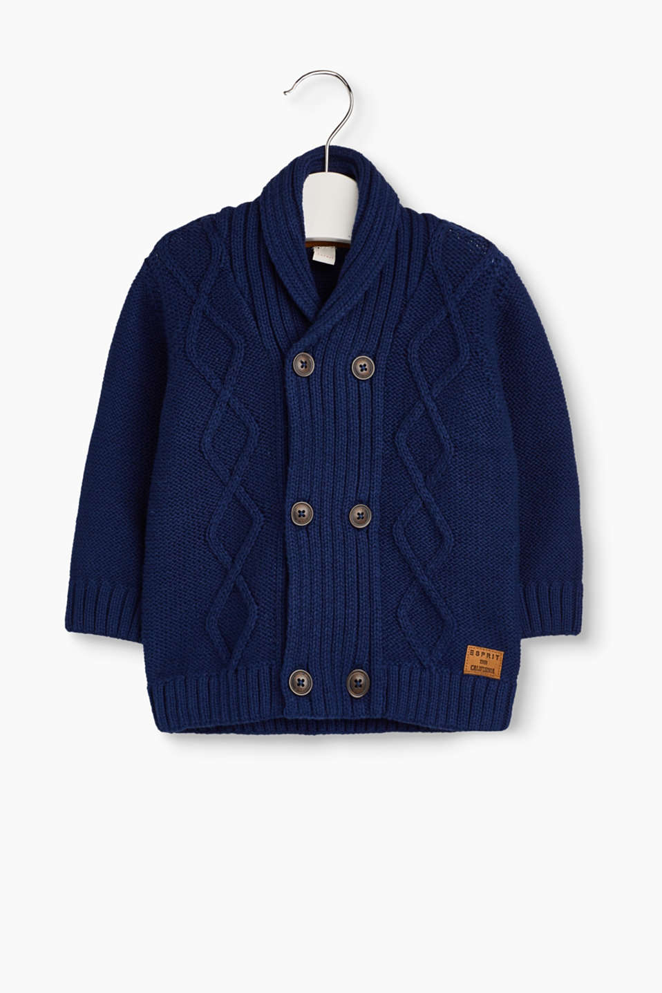 Stay nice and warm! This knitted cardigan gets a rustic note from its shawl collar and the cable pattern.