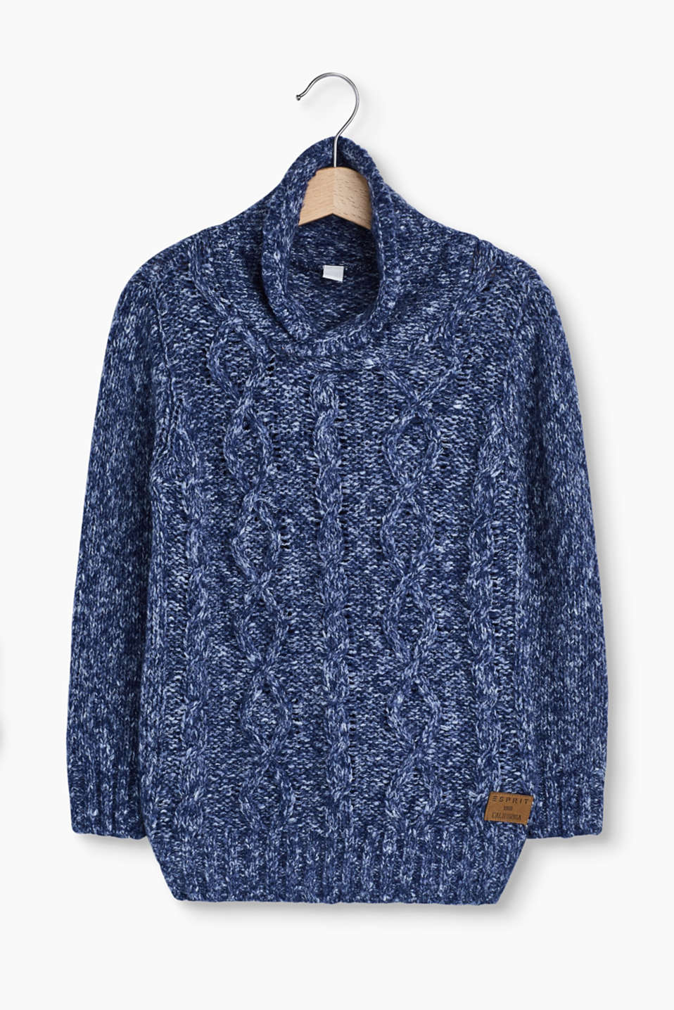 Esprit - Cable knit jumper with a shawl collar