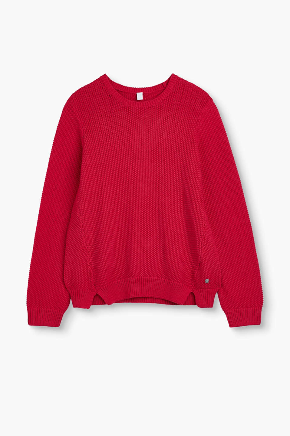 A favourite pieces for everyday wear: Round jumper in textured knit yarn made of pure cotton.