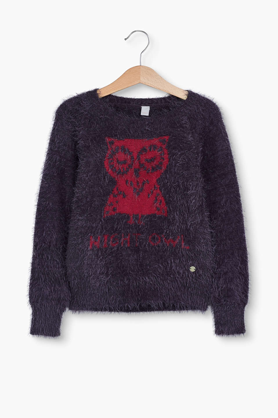 Esprit - Fluffy jumper with owl intarsia