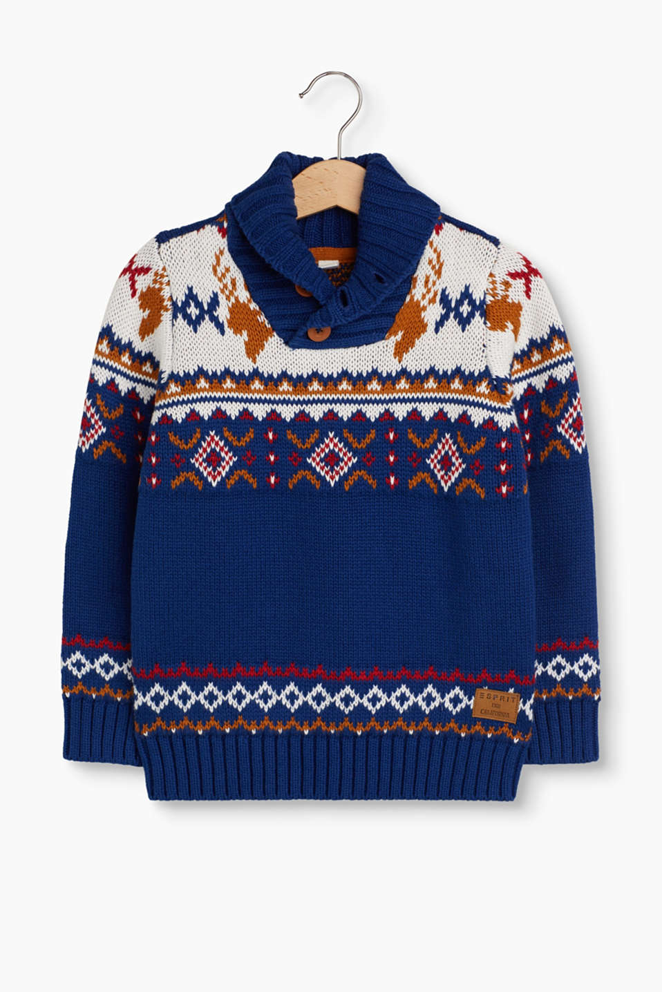 A cosy favourite piece, this warm cotton jumper features a colourful intarsia pattern and a shawl collar.