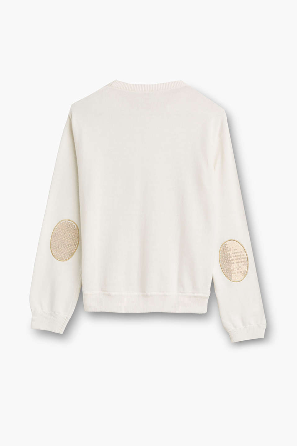 Cotton jumper with sequinned patches