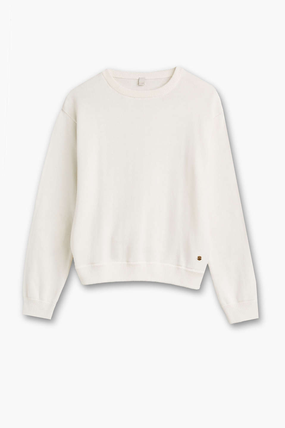 Esprit - Cotton jumper with sequinned patches
