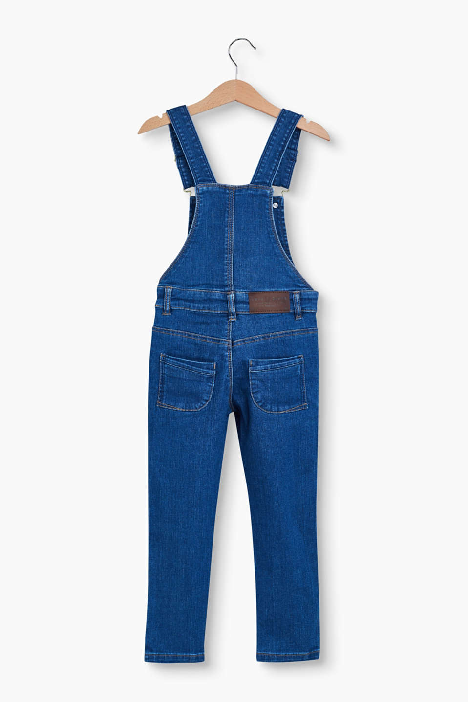 Denim dungarees with distressed effects