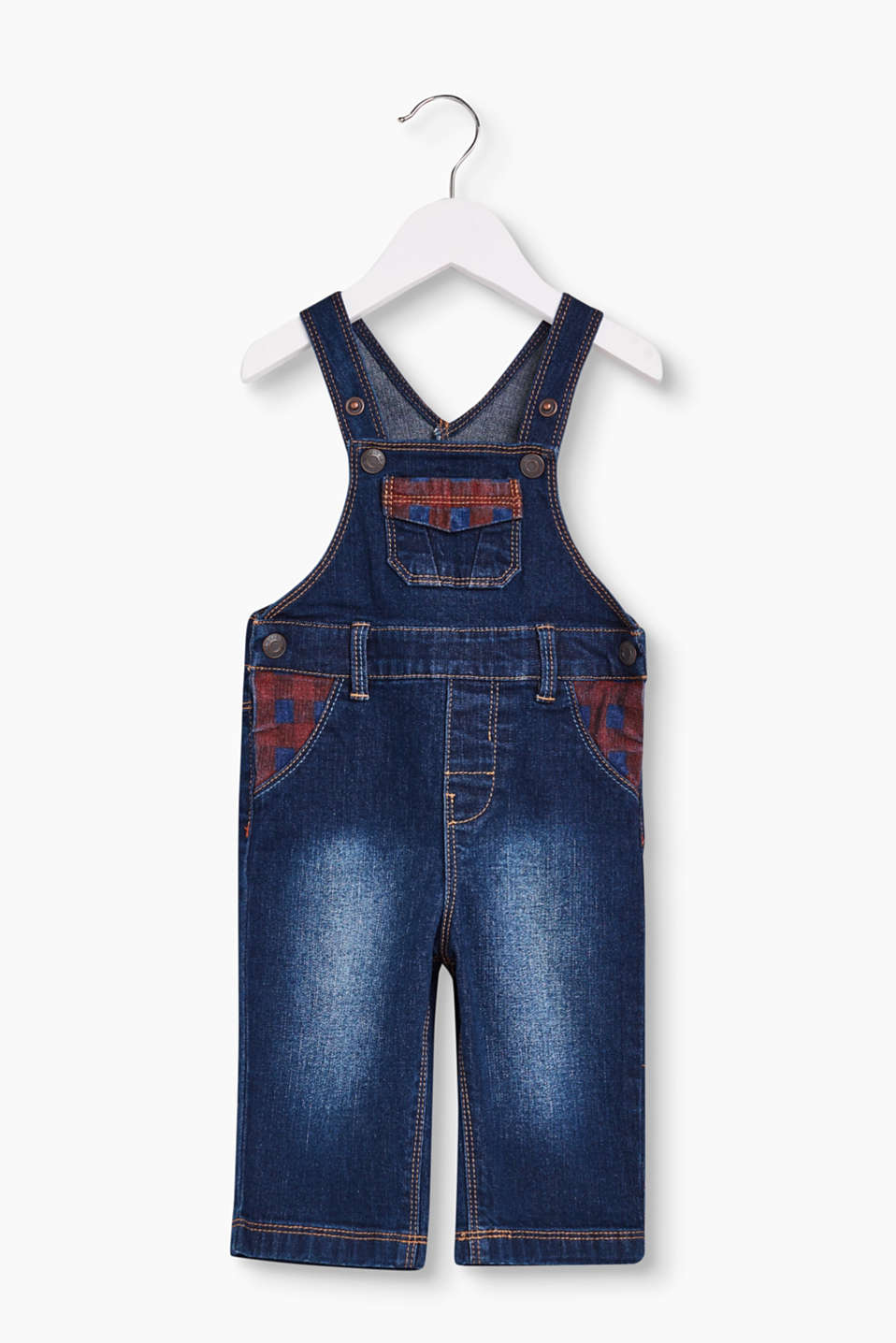 For cool denim boys! Dungarees with print yokes and cool garment-washed effects, pure cotton denim