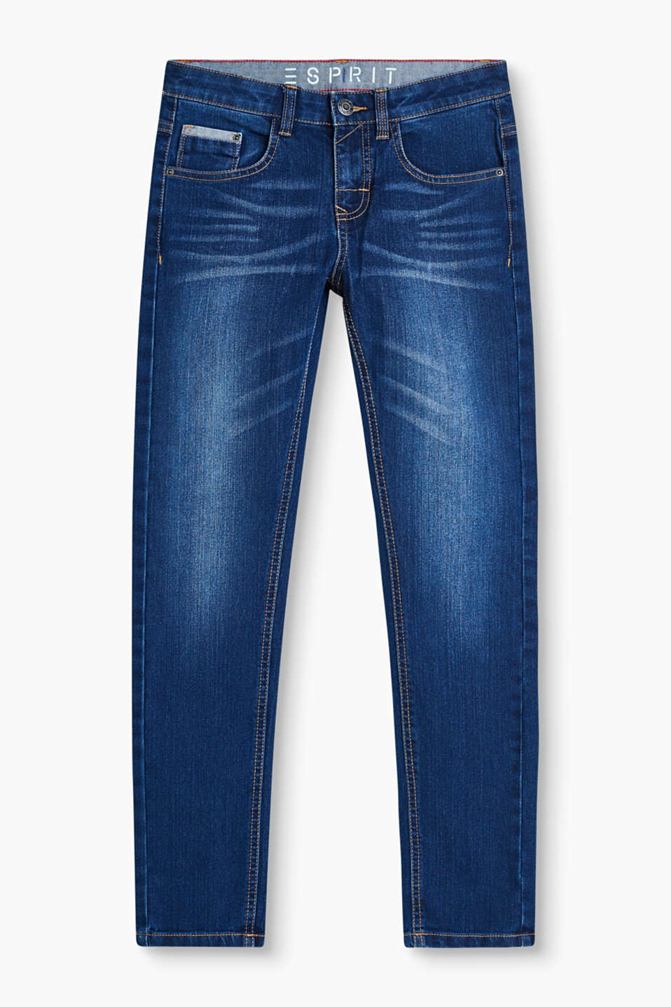 Five-pocket jeans in blended cotton denim with authentic washed effects