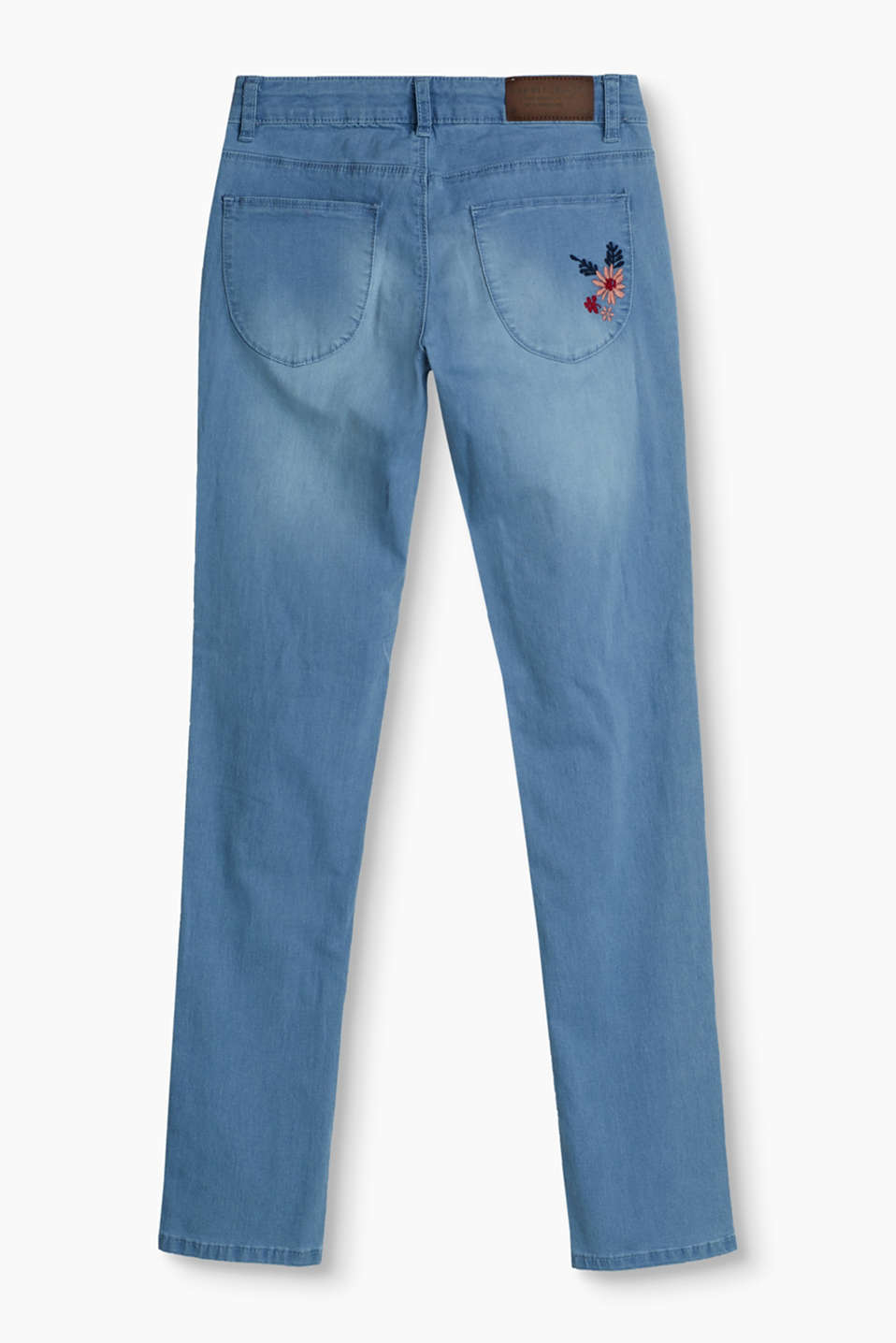 Stretch jeans with floral embroidery