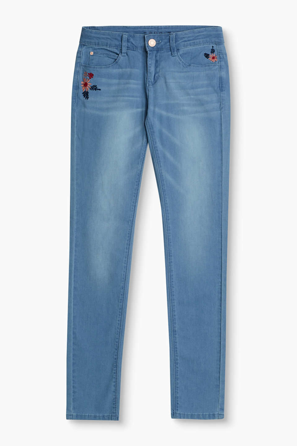 Esprit - Stretch jeans with floral embroidery