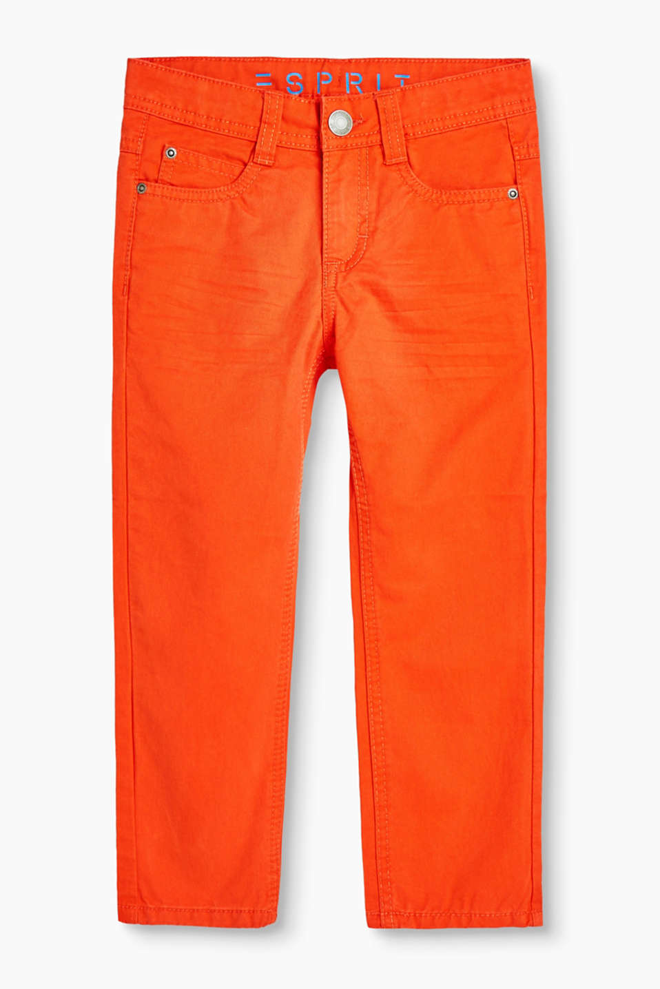 Basic, cotton twill trousers with whiskering and an adjustable waistband
