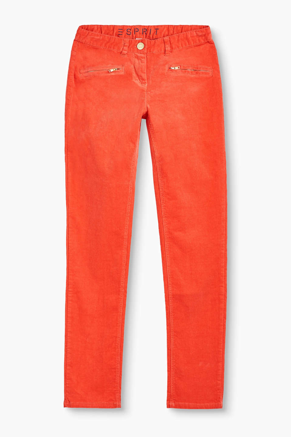Esprit - Velvety corduroy trousers in stretchy cotton