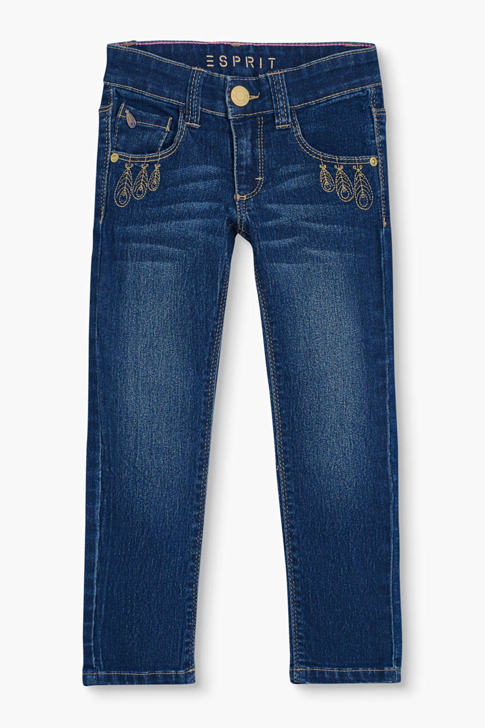 Appliquéd feathers on the front pockets give these stretchy jeans that special girly touch.
