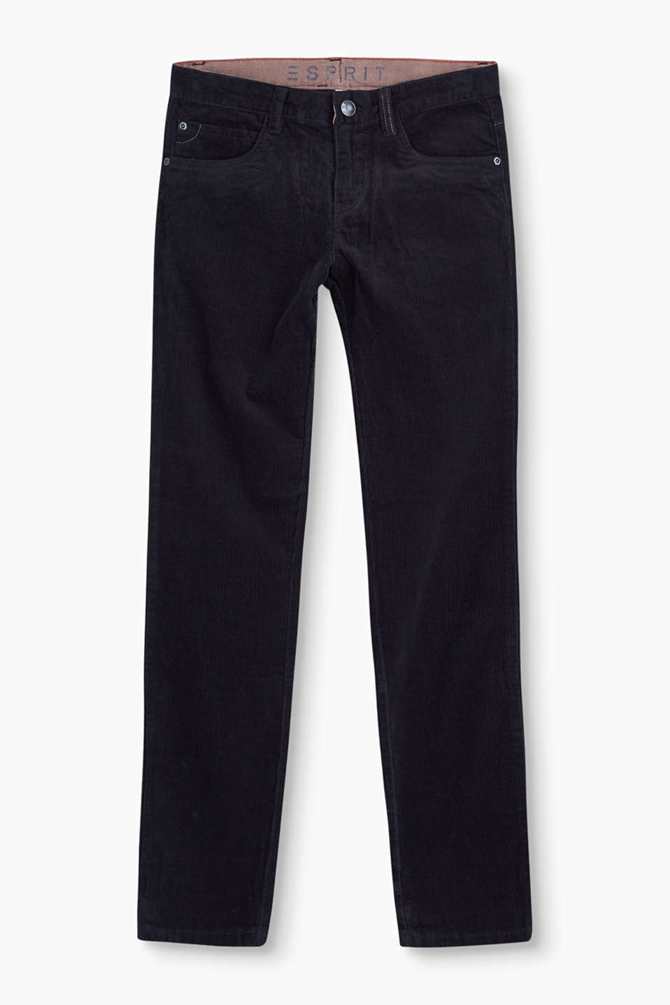 Esprit - Cotton cord trousers + an adjustable waist