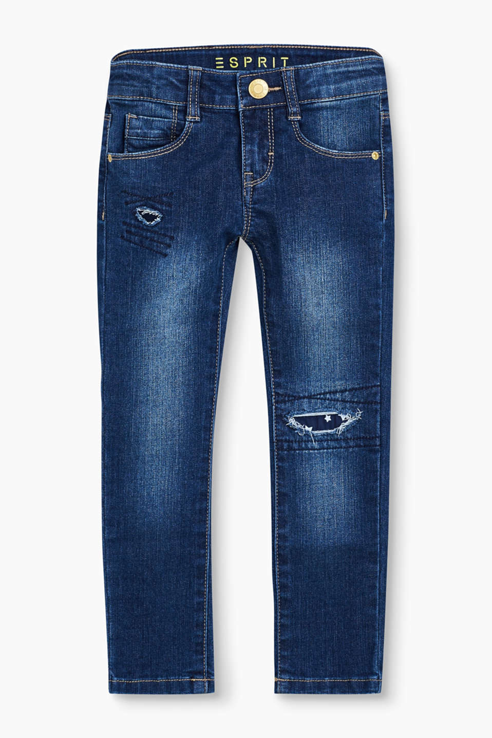 Their destroyed finish makes these 5 pocket, adjustable-waist jeans a captivatingly casual playmate.