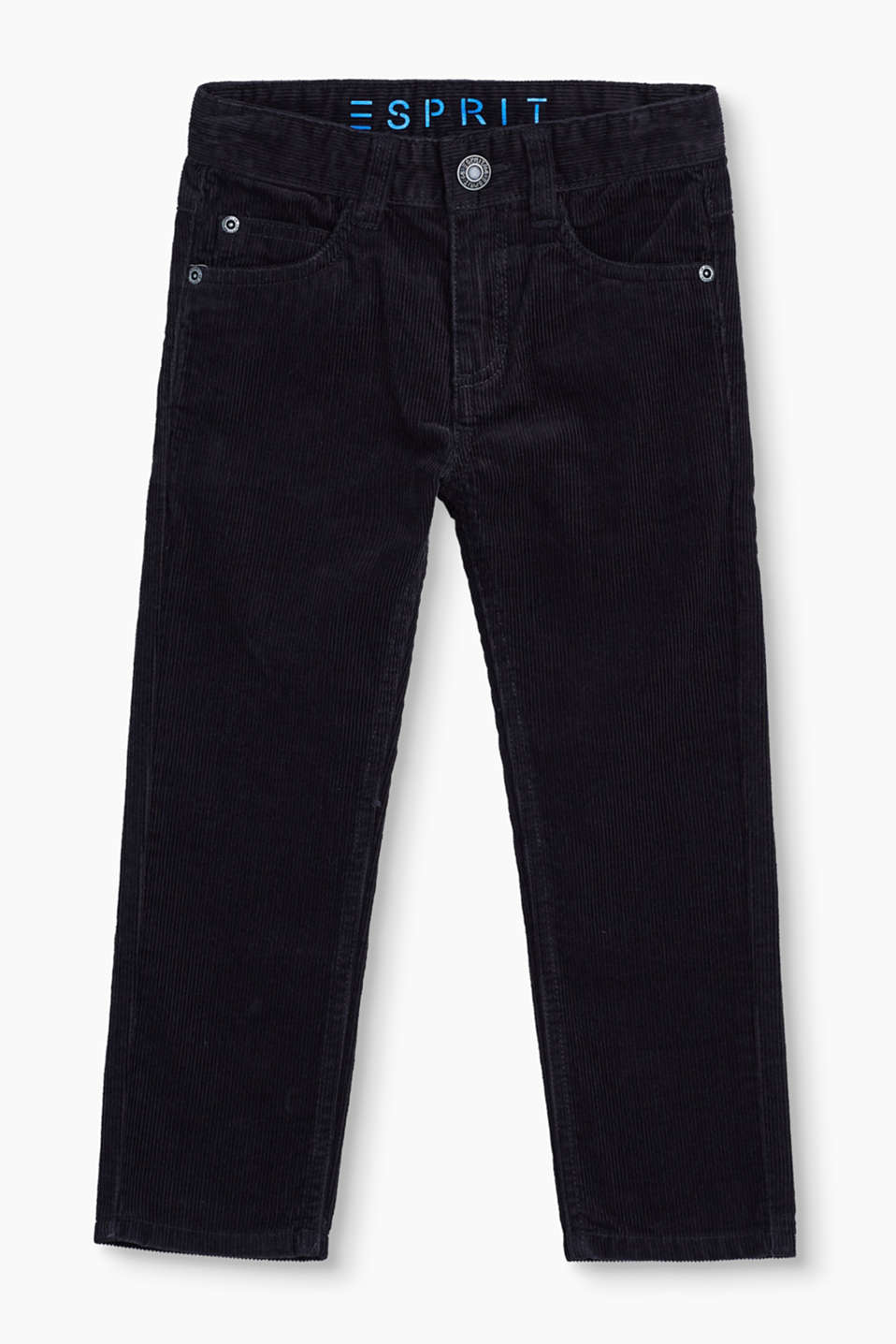 Esprit - Trousers in cotton cord + adjustable waist
