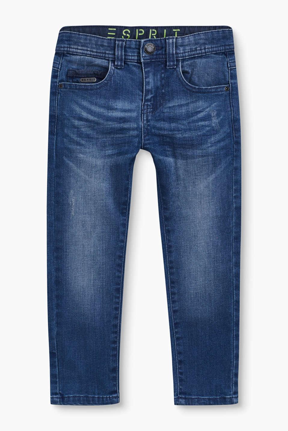 esprit 5 pocket jeans met destroyed look kopen in de online shop. Black Bedroom Furniture Sets. Home Design Ideas